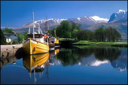 Ben Nevis, Britain's highest mountain, seen from the canal basin at Corpach, only half a mile from  Nevis View